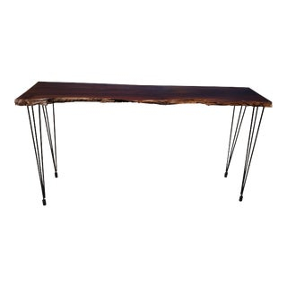Solid Walnut Live Edge Slab Console Table