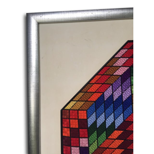 Image of Vintage Multicolor Needlepoint Geometric Wall Art
