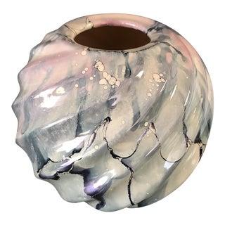 Swirled Watercolor Art Pottery Vessel
