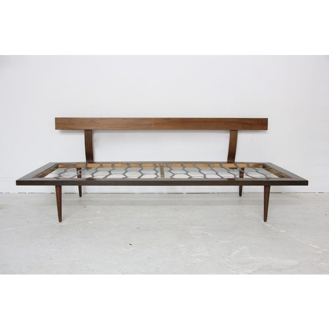 Image of Mid-Century Modern Brown Floral Day Bed Sofa