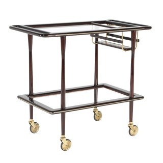 1950S ITALIAN BAR CART IN POLISHED MAHOGANY, BRASS AND GLASS