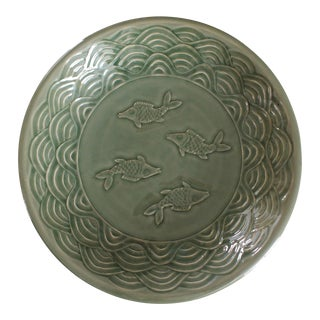 Large Celadon Stoneware Decorative Bowl