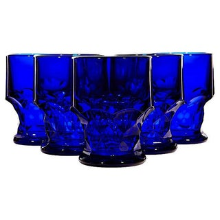 1950's Cobalt Glass Tumblers - Set of 6
