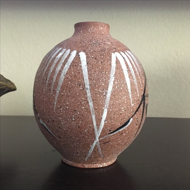 Image of Mid Century Modern Abstract Hand Painted Vase