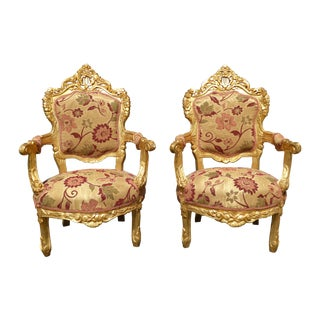 French Provincial Rococo Louis XV Gold Chairs - 2