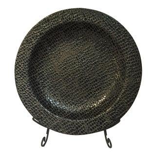 Black Aligator Ceramic Plate & Stand