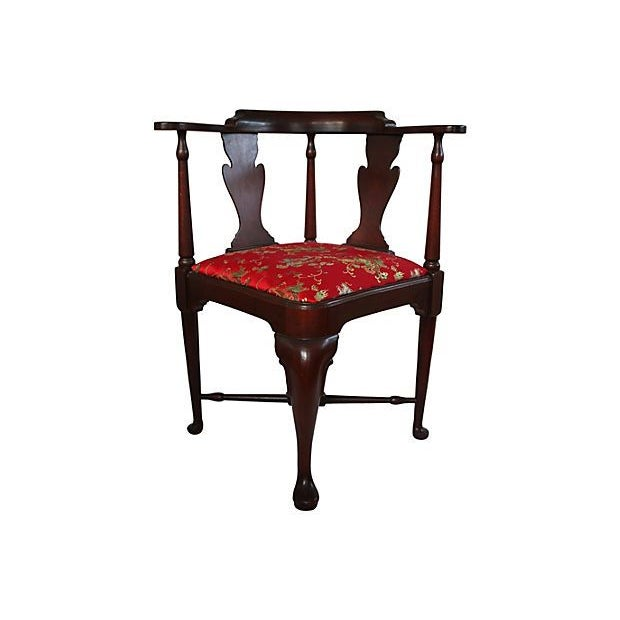 Image of Vintage Queen Anne Chinoiserie Corner Chair
