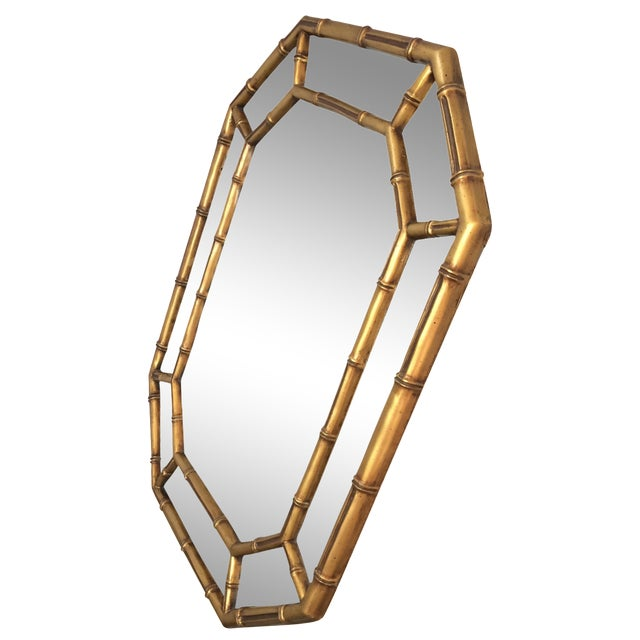 Image of Vintage Gold Bamboo Mirror