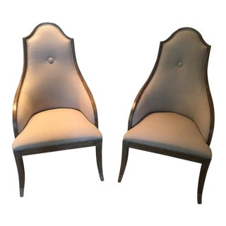 Pair of Grey Upholstered Pine Accent Chairs