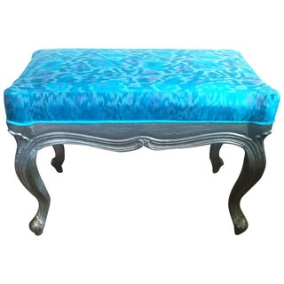Blue Ikat Bench with Silk Cushion