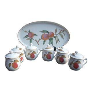 Royal Worcester Jam Pots With Tray - Set of 7