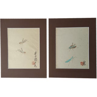 Antique Cricket Paintings - A Pair
