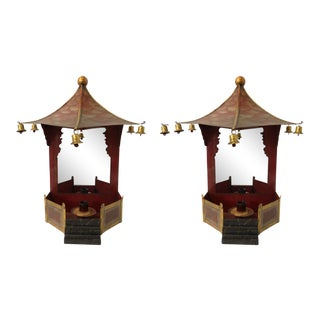 Antique Tole Pagoda Sconces - A Pair