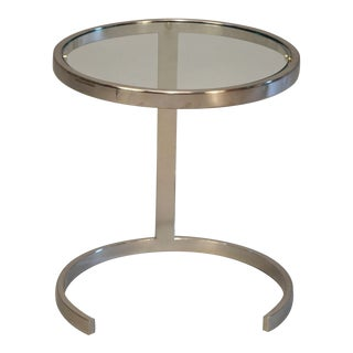 Mid-Century Glass & Polished Chrome Side Table