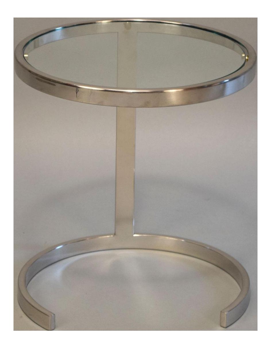 Mid Century Glass U0026 Polished Chrome Side Table   Image 1 ...
