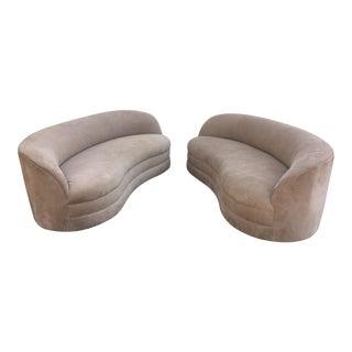 Vladimir Kagan Style Curved Sofas - a Pair