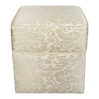 Hollywood Regency Damask Silk Ottoman / Vanity Stool