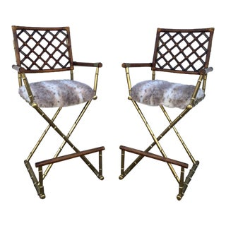 Faux Fur Seats Director's Chairs - A Pair