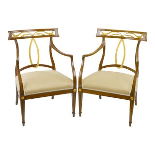 Baker Style Mid-Century Gilt Regency Chairs - a Pair