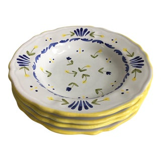 Italian Hand Painted Le Soleil Soup Bowls - Set of 4