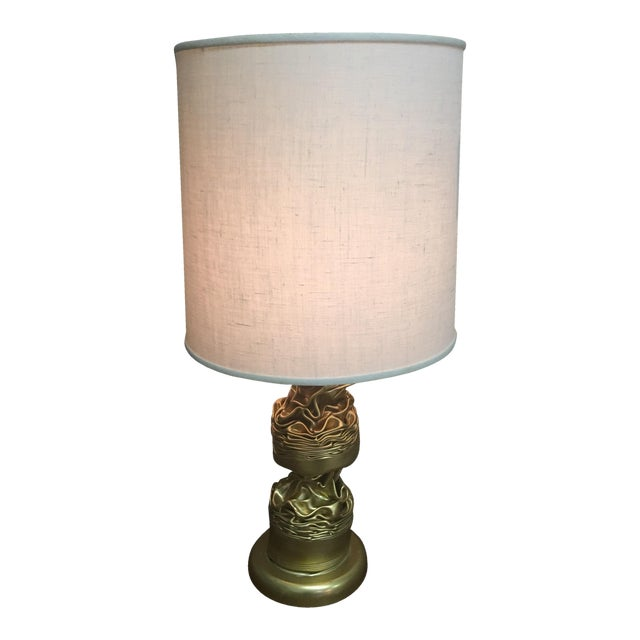 Image of Brass Abstract Lamp & Barrel Shade