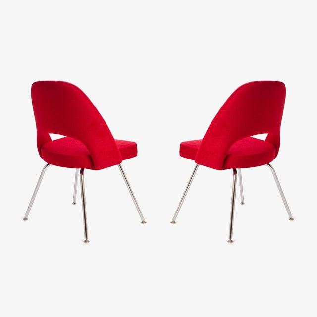 Image of Saarinen for Knoll Executive Armless Chairs in Original Knoll Fire-Red, Pair