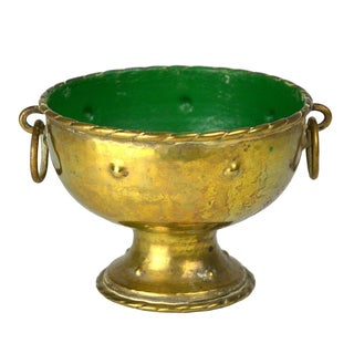 Gold & Green Brass Bowl with Handles