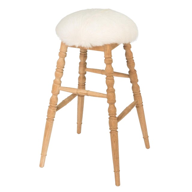 Sarreid LTD Winoma Wood & Goatskin Bar Stool - Image 1 of 6