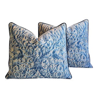 """26"""" X 23"""" Custom Tailored Italian Fortuny Uccelli Feather/Down Pillows - Pair"""