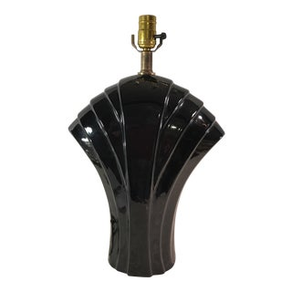 Art Deco Black Ceramic Fan Lamp