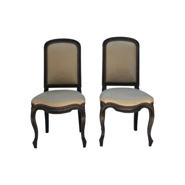 Cream Leather Spanish-Style Chairs - A Pair - Image 1 of 11