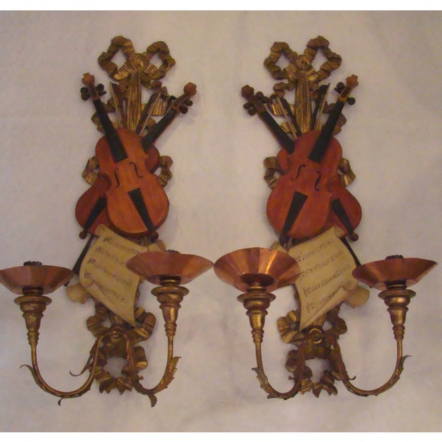 Italian Violin Sconces - Pair - Image 2 of 11