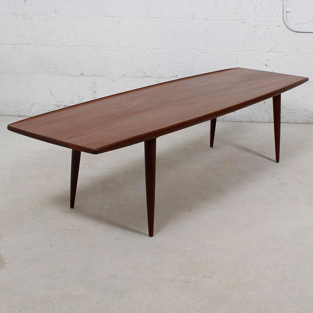 Long Danish Modern Teak Surfboard Coffee Table - Image 3 of 7