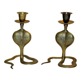 Vintage Brass Cobra Candle Holders - A Pair