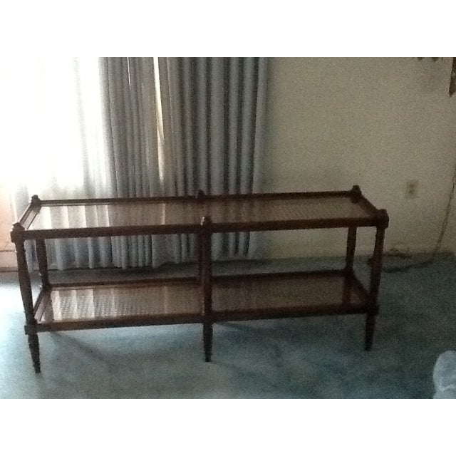Cane & Glass Coffee Table with Shelf - Image 5 of 10