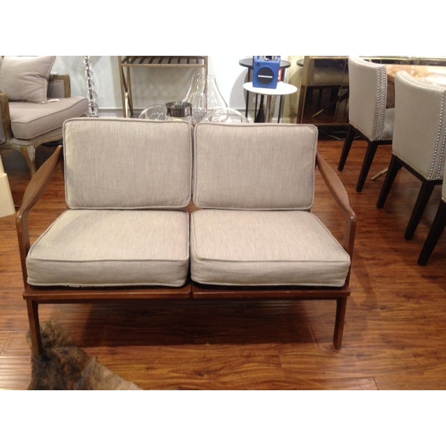 Mid Century Tan & Wood Frame Love Seat - Image 2 of 6