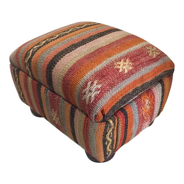Kilim Rug Ottoman - Image 1 of 4