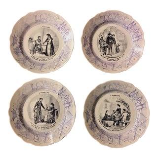 Antique French Ceramic Plates, 1890-1910 - Set of 4
