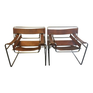 Vintage Unrestored Original 50's Era Wassily B3 Armchairs - A Pair