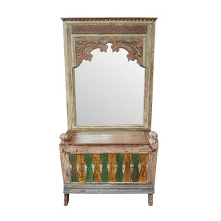 Vintage Indian Carved Mirror w/Trunk