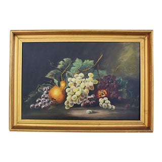 Antique Framed Picturesque Fruit Tablescape Oil Painting