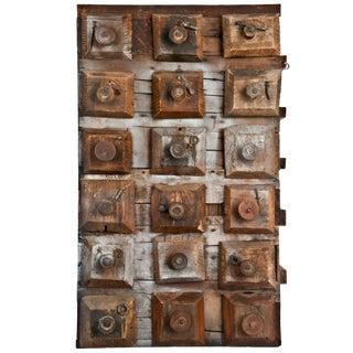 Antique Handmade Folk Art 18 Drawer Hardware Storage Cabinet
