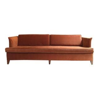 Mid-Century Burnt Orange Tuxedo Sofa