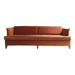 Mid-Century Burnt Orange Tuxedo Sofa