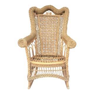 Antique Rattan & Bamboo Rocking Chair