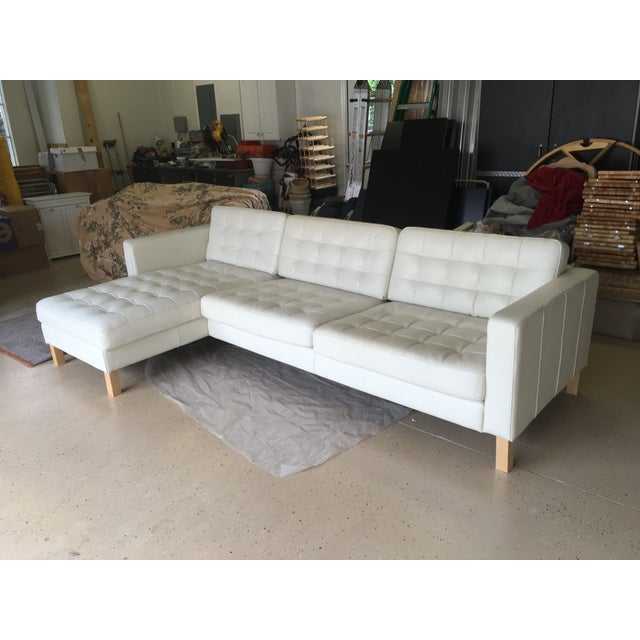 White Leather Contemporary Sectional Sofa W Ottoman: Contemporary Tufted White Leather Sectional Sofa