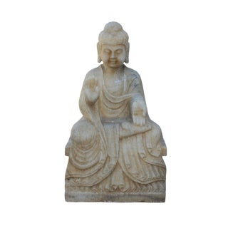 Chinese Distressed Brown White Stone Sitting Abhaya Mudra Buddha Statue