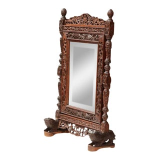 19th Century French Carved Black Forest Free Standing Beveled Glass Mirror