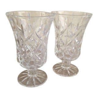 Vintage Crystal Vases Candle Holders - A Pair