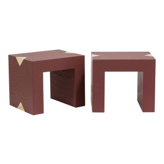 The Rectangular Crackle Side Tables by Talisman Bespoke (Burgundy and Gold)